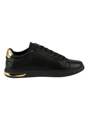 Ed Hardy Pop Low Top Leather Trainers - Black/Gold