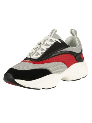 Ed Hardy Scale 3M Runner Leather Trainers - White/Red/Black
