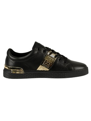 Ed Hardy Stripe Low Top Metallic Leather Trainers - Black/Gold