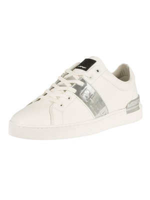 Ed Hardy Stripe Low Top Metallic Leather Trainers - White/Silver