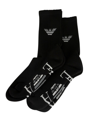 Emporio Armani 2 Pack Sponge Short Socks - Black