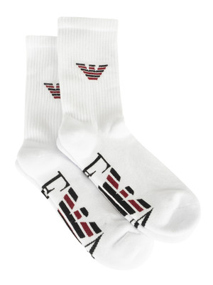 Emporio Armani 2 Pack Sponge Short Socks - White