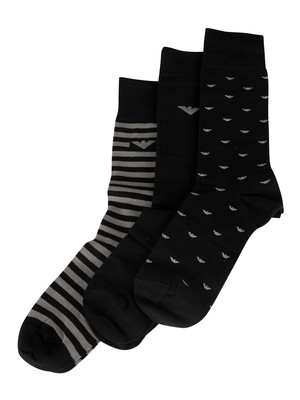 Emporio Armani 3 Pack Socks - Black