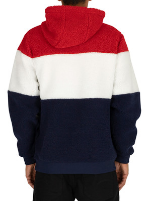 Fila Boris Pullover Hoodie - Peacoat/White/Red