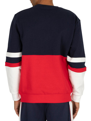 Fila Freddie Colourblock Sweatshirt - Peacoat/Red/White