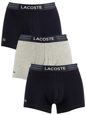 Lacoste 3 Pack Trunks - Blue/Grey/Navy
