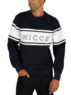 Nicce Panel Sweatshirt - Deep Navy/White