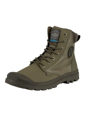 Palladium Pampa Sport Cuff WPR Leather Boots - Olive Night/Beluga