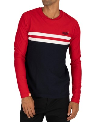Superdry Colour Block Longsleeved T-Shirt - Rouge Red