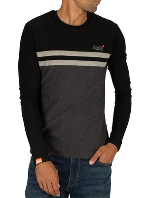 Superdry Colour Block Longsleeved T-Shirt - Black