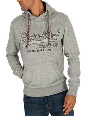 Superdry Downhill Applique Pullover Hoodie - Downhill Grey Marl