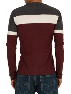 Superdry Engineered Longsleeved T-Shirt - Buck Burgundy Marl