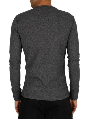 Superdry Heritage Longsleeved Grandad T-Shirt - Washed Black Feeder