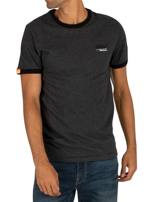Superdry Orange Label Ringer T-Shirt - Dark Nordic Charcoal Texture
