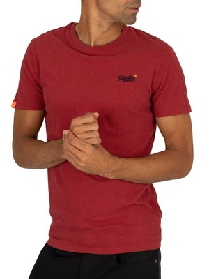 Superdry Vintage Embroidery T-Shirt - Creek Red Marl