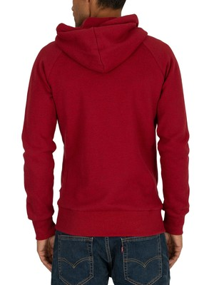 Superdry Vintage Logo Monochrome Zip Hoodie - Creek Red Marl Black Twist