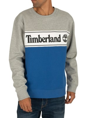 Timberland Cut & Sew Logo Sweatshirt - Grey/Blue