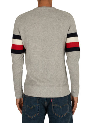 Tommy Hilfiger Soft Global Stripe Sweatshirt - Cloud Heather