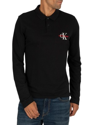 Calvin Klein Jeans Monogram Embroidery Slim Longsleeved Polo Shirt - Black Beauty