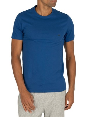 Emporio Armani 2 Pack Crew Lounge T-Shirts - Black/Royal Blue