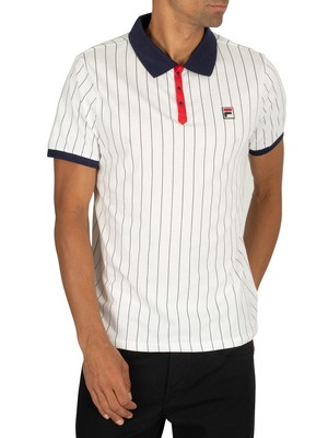 Fila BB1 Classic Vintage Striped Polo Shirt - White/Red/Peacoat