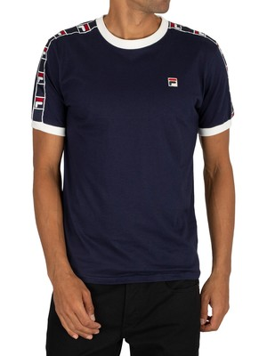 Fila Luca Woven Tape T-Shirt - Navy/White/Red