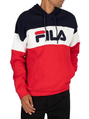 Fila Rayton Fleece Pullover Hoodie - Navy/Red/White