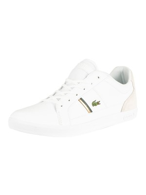 Lacoste Europa 319 1 SMA Leather Trainers - White/Dark Green