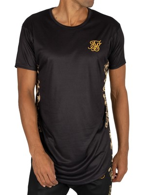 Sik Silk Curved Hem T-Shirt - Black/Gold