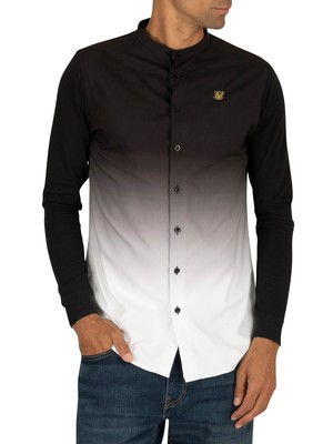 Sik Silk Fade Grandad Shirt - Black/White