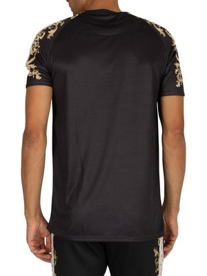 Sik Silk Raglan Gym T-Shirt - Black/White/Gold