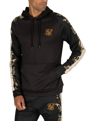 Sik Silk Raglan Muscle Fit Pullover Hoodie - Black/White/Gold