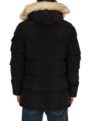 Sik Silk Shiny Puffer Parka Jacket - Black