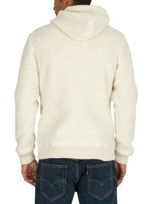 Superdry Core Sherpa Zip Hoodie - Winter Ecru