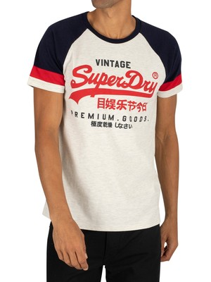 Superdry Tri Colour Raglan T-Shirt - Steel Oatmeal Marl