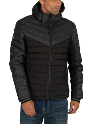 Superdry Tweed Mix Fuji Jacket - Jet Black