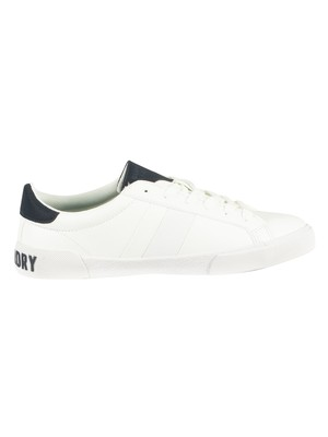 Superdry Vintage Court Leather Trainer - Optic White/Navy