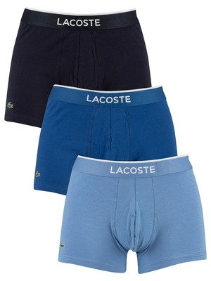 Lacoste 3 Pack Colours Trunks - Blue