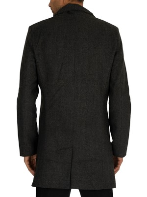 Religion Noirex Pea Coat - Dark Charcoal