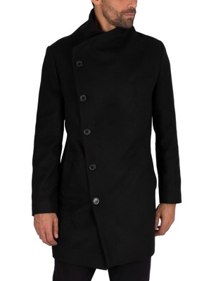 Religion Noirex Pea Coat - Black