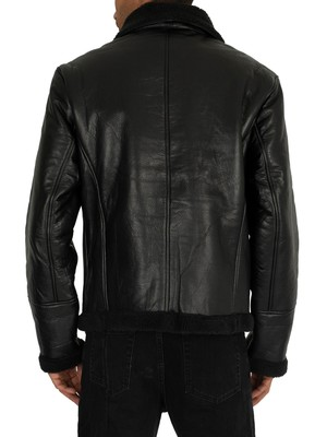 Religion Pilot Leather Jacket - Black