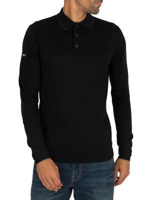 Superdry Edit Merino Longsleeved Polo Shirt - Nightwatch Black