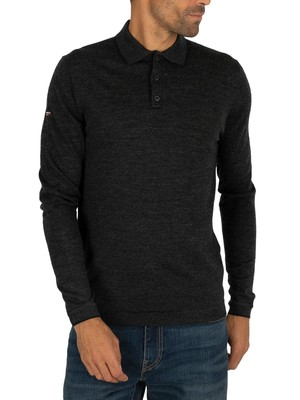 Superdry Edit Merino Longsleeved Polo Shirt - Dark Charcoal Marl
