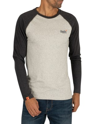 Superdry Orange Label Texture Baseball Longsleeved T-Shirt - Steel Oatmeal Marl