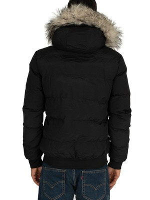 4Bidden Rage Fur Lined Parka Jacket - Black