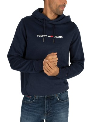 Tommy Jeans Straight Small Logo Pullover Hoodie - Black Iris Navy
