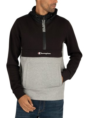 Champion Half Zip Hoodie - Black/Grey