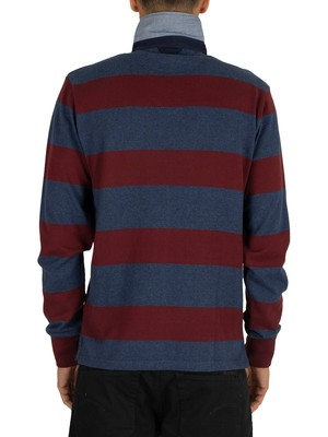 Gant Original Barstripe Heavy Rugger Longsleeved Polo Shirt - Port Red