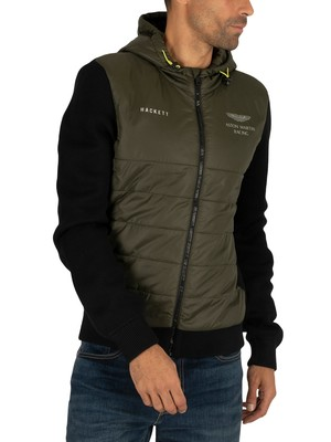 Hackett London AMR Quilted Zip Jacket - Khaki/Black