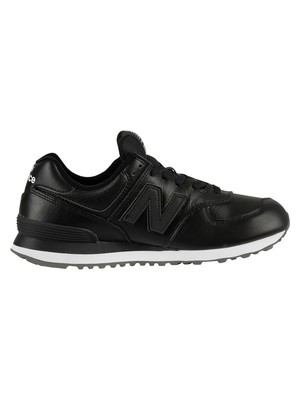 New Balance 574 Leather Trainers - Black/White